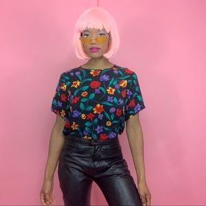 1990's Vintage Short Sleeve Vibrant Floral Blouse